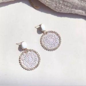 White Lace Hoop Earrings